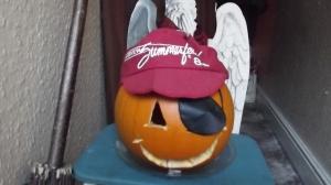 Our 2014 pumpkin, aka Mr Pumpkinescu, in relaxed, post-Halloween mode.