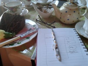 A notebook, a pen, tea, cake and...what? Do I need anything else?