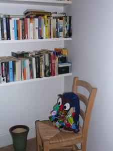 Owl Bag, shown here taking time out during a holiday to select a good book.