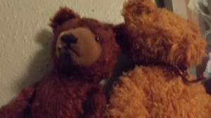 American Steiff Bear (l), British Car Boot Bear (r)