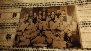 A Romanian Dance Troop in Indianapolis, ca 1913. My grandfather is the handsome one on the bottom right.