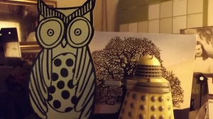 The Dalek's woodsy walk was rudely interrupted when he met the Giant Owl of Leeds