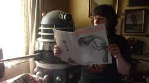 "Gerald C Dalek and me reading the first issue of the ""Doncopolitan"""