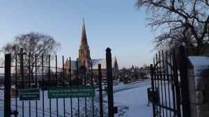 Hyde Park Cemetery, main gate: Dec 2014