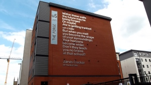 How can you not love a city which has a Jarvis Cocker poem on the side of a building?