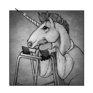 """Lance the unicorn, from """"The St Jude Care Home for Mythical Creatures"""". Art by the fabulous Tom Brown"""